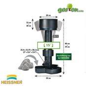 Die Maße des HEISSNER F550-00 Standskimmer