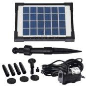 Der komplette Lieferumfang der Agora-Tec® AT-2W Wasserspielpumpe - Erdspieß für das Solarpanel, Düsenset, Solarpanel und Pumpe